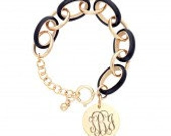 Enamel Link Bracelets with Gold disk