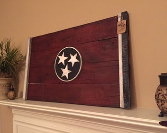 Wooden Flag, Wooden Tennessee State Flag, Tennessee, Tennessee Wooden State Flag, Tennessee State Wood Flag, Wood Tennessee Flag, Wood Flag