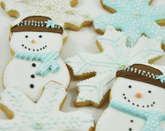Winter Wonderland  Snowflake and frosty the snowman Christmas Cookies - cute decorated perfect holiday gift sugar cookies -