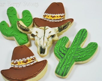Assorted Western - Southwest - Desert Themed Sugar Cookies - 1/2 Dozen - Wild West -  cowboy hat - cactus - skull