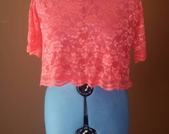 Coral Scalloped Lace Top