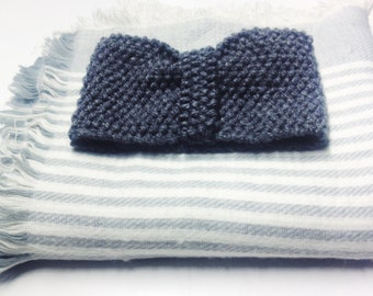 Grey wool turban headband