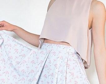 SUMMER SALES Crop top, light pink crop top, women blouse, lounge top, high neck crop top, loose fit, summer top, FREE Shipping