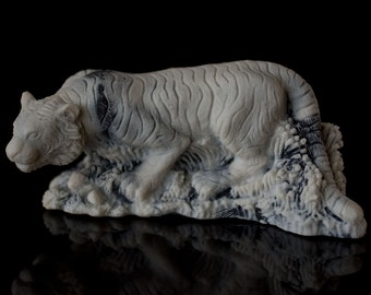 Marble Tiger Figurine Animal Russian Art Handmade Statuette For Home Decor