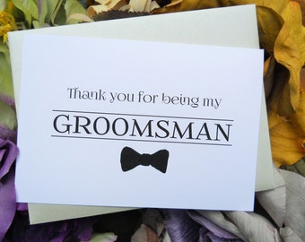 THANK YOU for being my GROOMSMAN Card, Groomsman Thank You Card, Groomsman Gift, Wedding Thank Yous, Wedding Stationery, Wedding Thank You