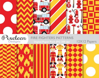 Fire Fighters Digital Paper, Firetruck Patterns, chevron ,polka dots, stripes, scrapbooking, invitations, paper crafts, INSTANT DOWNLOAD