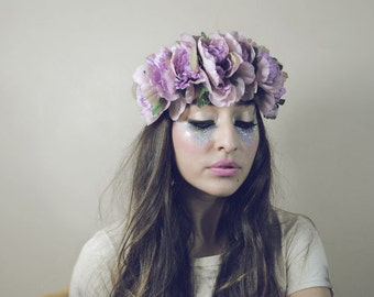 Sirens Grunge - Large Lilac Rose Flower Crown