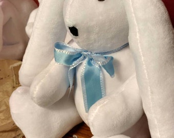 Handsewn bunny rabbits with ribbon color of ur choice.handsewn in usa