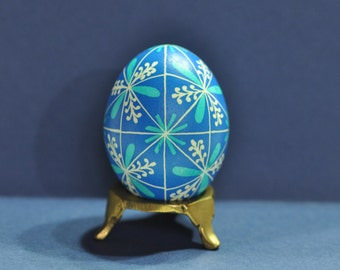 48 Triangles: Blue and White, Pysanka, Pysanky, Egg Art, Easter, Decorated Egg, Wax Resist