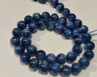 10MM Kyanite Smooth Round Beads  AAA Quality , Blue Kyanite top quality Rare Available