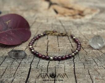 FREYA - Garnet & Pyrite Bracelet