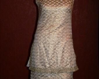 Daymor Original Overlap Tunic Cream Gold Metalic Brocade Dress