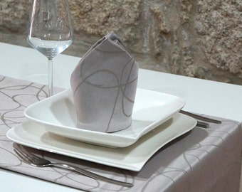 Luxury Silver Table Runner - Anti Stain Proof Resistant - Pack of 2 units - Ref. Lines