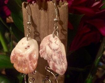 Hawaiian Shell Wrapped Wire Seed Bead Dangle Earrings