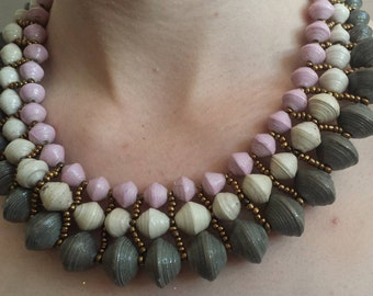 Lois statement paper bead necklace
