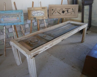 Handmade Dining Table made from old Neoclassical Door D001