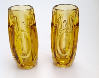 Pair of Amber Czech 1960's glass vases