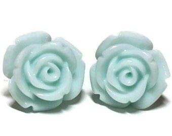 Light Blue Rose Earrings, Light Blue Rose Studs, Blue Earrings, Rose Earrings, Post Earrings, Resin Flowers