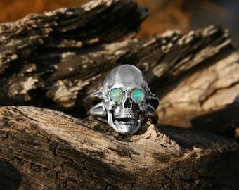 "Original Fire Opal Silver Skull Ring in the Sockets ""Space Eyes"". Mens jewelry, Mens skull ring, Mens ring, Opal skull ring, Halloween"