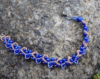 Blue & Gold Beaded Bracelet