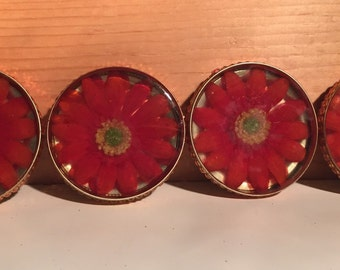Set of four flower coasters