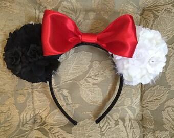 Cruella de Vil/ Dalmation Inspired Floral  ears( Double-Sided)