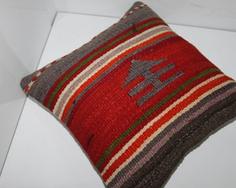 Wool on Wool Home Decor Kilim Pillow Cover vintage turkish kilim pillow  cushion cover  16x16