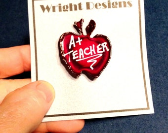 Teacher red apple brooch pin