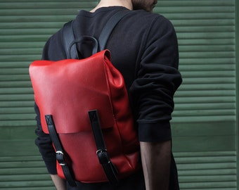 SALE!!! Red backpack handmade / men woman gift / leather rucksack/ SALE!!!