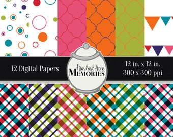 Digital Papers, Bright Plaids and Circles , 12 inches x 12 inches, 300 ppi (dpi), Scrapbooking and Craft Papers, Downloadable and Printable