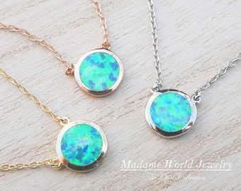 Reconstitute Blue Opal Bezel Set Circle Necklace