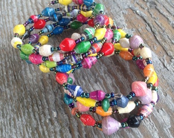 Multi Colored Wrap Bracelet Handmade in Uganda with Paper Beads for a Good Cause