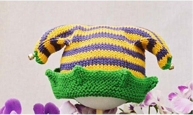 Baby Jester Hat Knitting Pattern pdf baby DK yarn no-sew