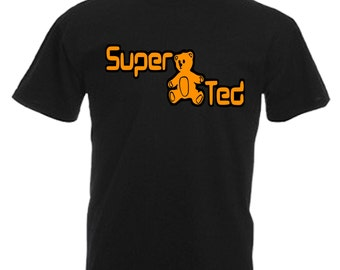Super Ted Adults Black T Shirt Sizes From Small - 3XL