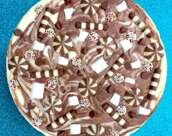 Out of this swirled chocolate fudge pizza - handmade sweet gift
