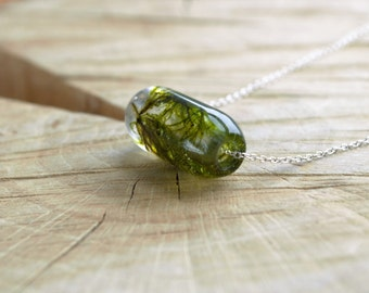 Green Woodland Moss Bead Pendant with Sterling Silver