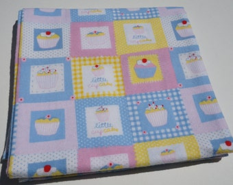 Baby Receiving Blanket, Little Cupcake Blanket, Pastel Blocks, Baby Blanket, Flannel Blanket, Swaddle Blanket, Pink Yellow and Blue, Cupcake