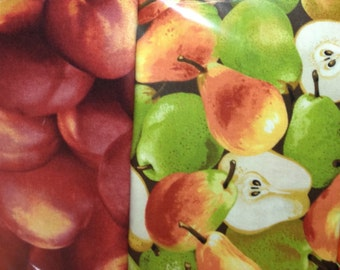 vegetable and fruit patterned fabric napkins