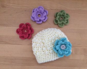 Crochet hat with interchangeable flowers, gray crochet baby hat, winter hat, crochet flower hat