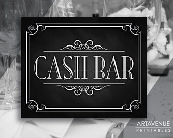 printable art vintage party decor sign cash bar sign chalkboard wedding digital