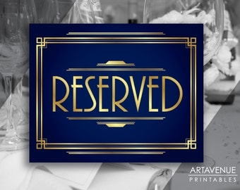 "Navy and Gold Party Decor ""RESERVED"" Printable Sign Roaring Twenties, Art Deco Party Supplies - NG1"