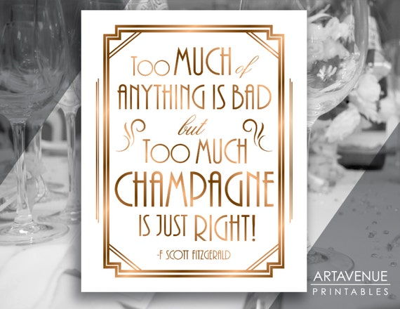 gatsby quote printable art gatsby wedding art deco party sign