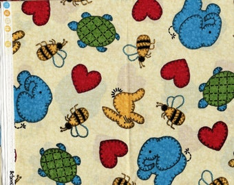 Circus - 1 yd _ Elephants, Turtles, Bees, Hearts _ Benartex