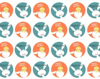 Easter Cupcake Toppers, Easter Cake Toppers, Easter Bunny, Easter Chick, Wafer Paper, Icing Paper, Set of 12 or 24