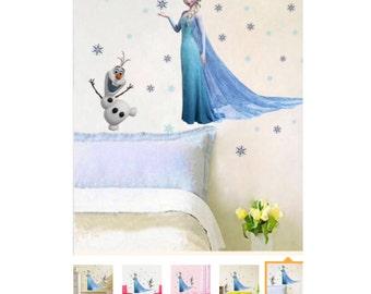 Elsa and snowflakes wall decal