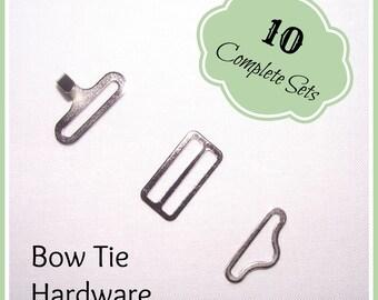 TEN Bow Tie Hardware, 3 piece sets, silver, hook, slide, eye