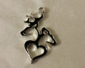 Buck and doe silhouette heart Enamel Charm, listing for 5 buck and doe charms