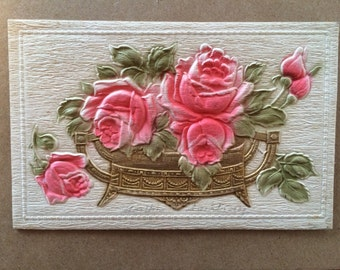 Vintage Embossed Rose Postcard