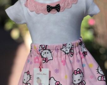 baby hello kitty, pink hello kitty, hello kitty onesie, baby hello onesie, baby kitty onesie, baby cat onesie, baby kitty skirt