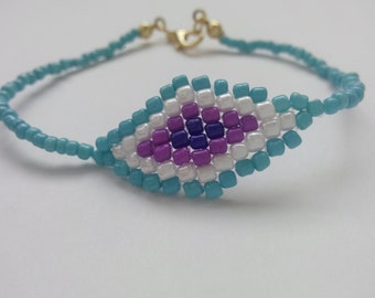 Handmade Turquoise,White,Purple,Blue Color Beads Bracelet